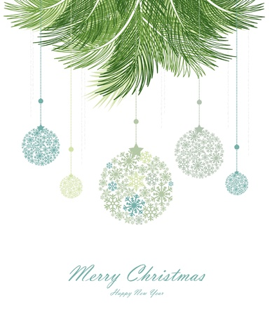 blue bow: Vector christmas background with decorated christmas branch Illustration