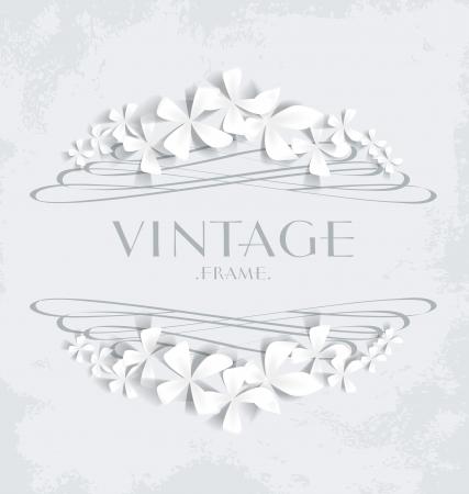 fondo elegante: Marco de la vendimia con las flores blancas de tarjetas de felicitaci�n