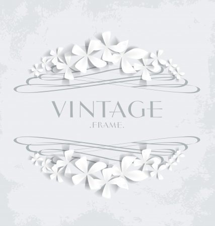 Vintage frame with white flowers for greeting cards Vector