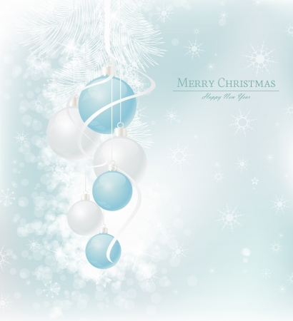 elegant Christmas background with blue and silwer  baubles Stock Vector - 15047360