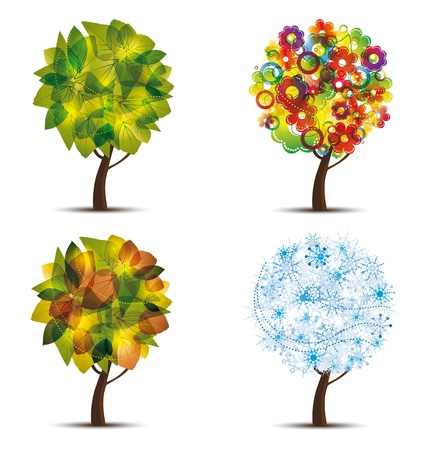 Four season trees. Spring, summer, autumn, winter  Vector