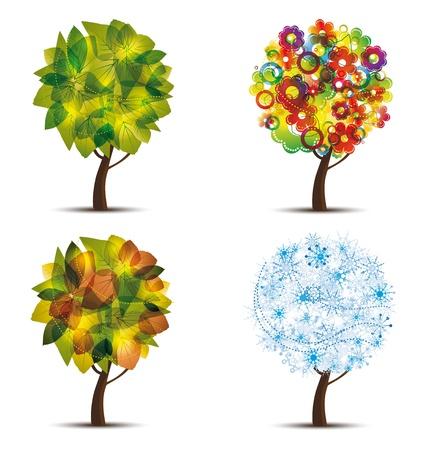 winter garden: Four season trees. Spring, summer, autumn, winter
