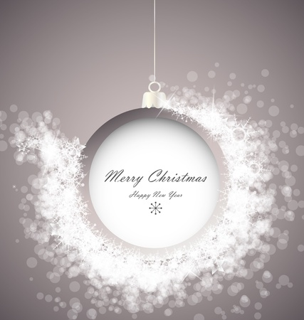 Christmas ball on abstract light background with snowflakes Vector