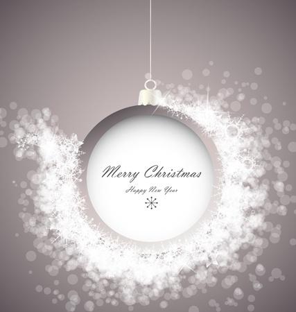 christmas ball: Christmas ball on abstract light background with snowflakes