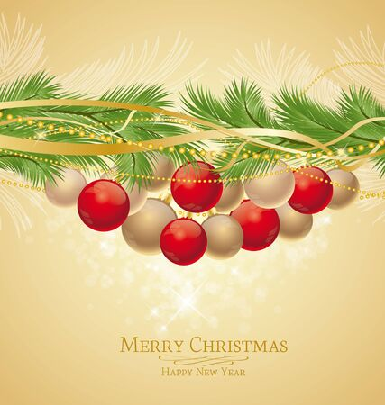 Christmas background decorated with branches Stock Vector - 15122476