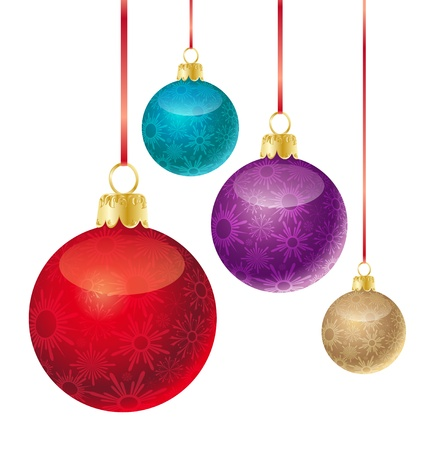 golden ball: set of different colored Christmas balls Illustration