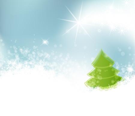 christmas landscape: Winter landscape on the background, illustration