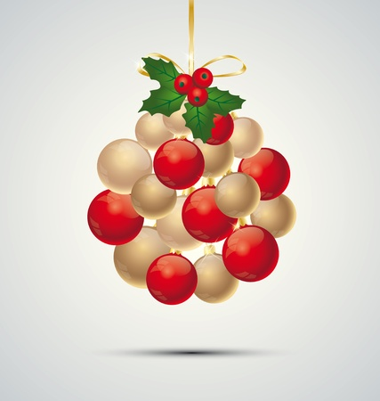 Christmas decoration with balls on a gray background Vector