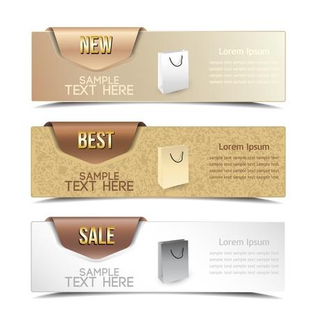label: banner op de product beschrijving met een ruimte voor tekst Stock Illustratie