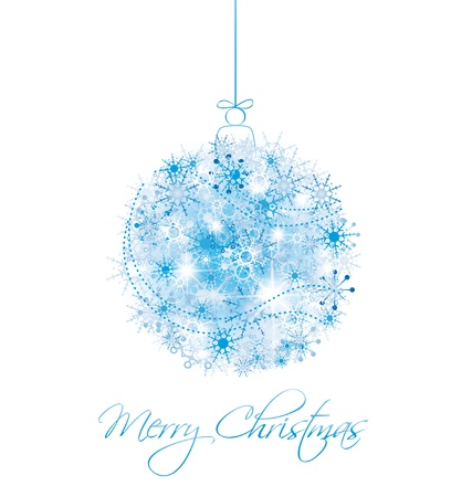 Christmas ball from snowflakes on a white background Illustration