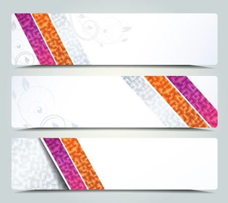 set of three header designs, banners Vector