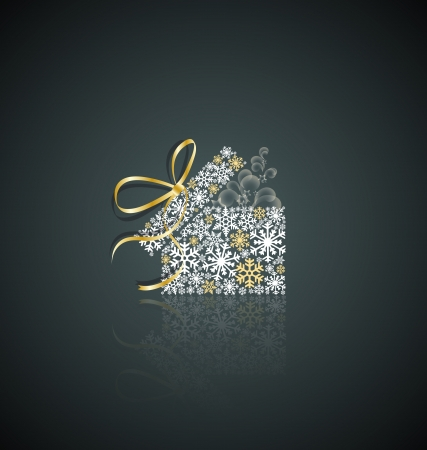 package design: Christmas present box made from snowflakes