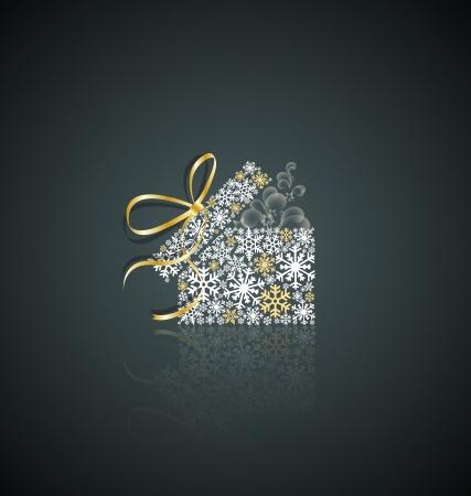 Kerstcadeau doos gemaakt van sneeuwvlokken Vector Illustratie