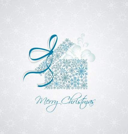 Christmas present box on snowy background Vector