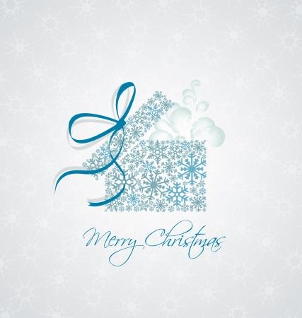 snowy background: Regalo de Navidad caja en el fondo cubierto de nieve