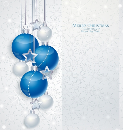 traditional silver wallpaper: Elegant Christmas background with blue and silwer  baubles