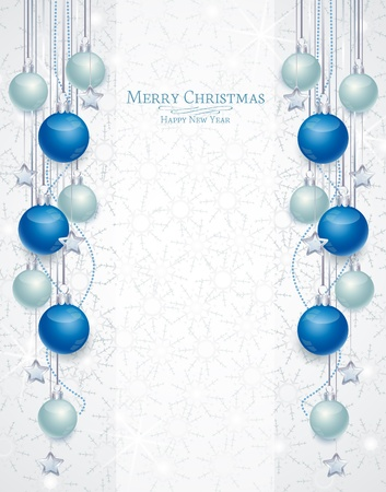Christmas background with balls and snowflakes  Stock Vector - 15357365