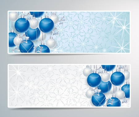Two banners with Christmas decoration balls Vector