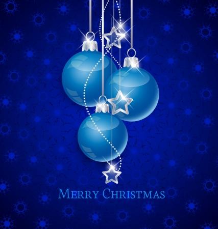 christmas ball: Snowflake background and blue Christmas ball