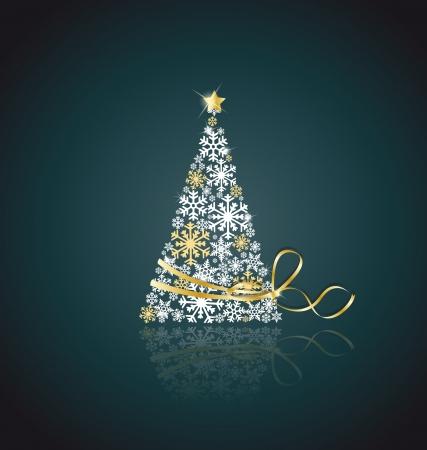 estrellas de navidad: Árbol de navidad hecho de copos de nieve con cinta