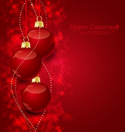 Fondo con estrellas y bolas de Navidad, ilustración