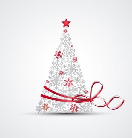 silhouette arbre hiver: Arbre de No�l de flocons de neige avec ruban