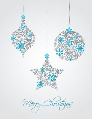 traditional silver wallpaper: Christmas ornaments made from snowflakes vector illustration