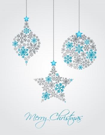 Ornamenti di Natale a base di fiocchi di neve, illustrazione vettoriale Vettoriali