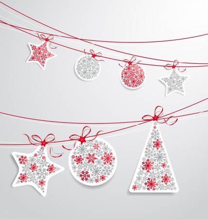 christmas tree set: Christmas label set with ribbons