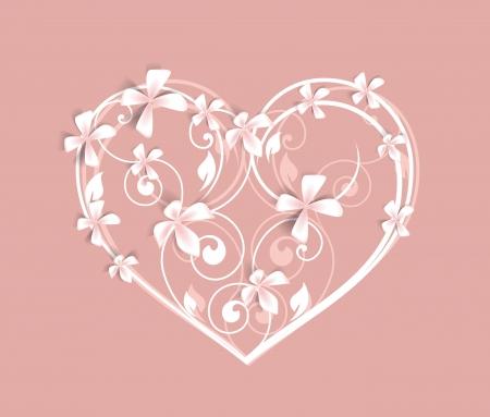 saint valentin coeur: Beau coeur floral sur fond rose