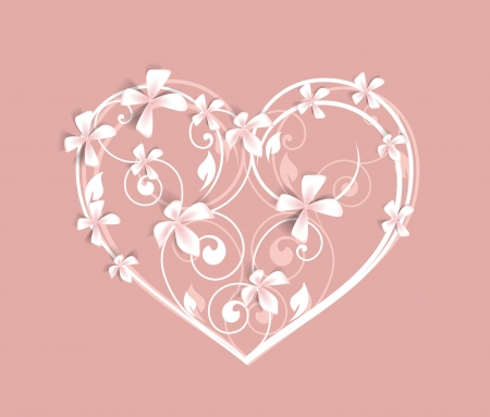 Beautiful  floral heart on a pink background Vector