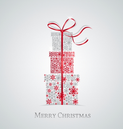 winter gift: Elegant Christmas background with gift boxes made from snowflakes