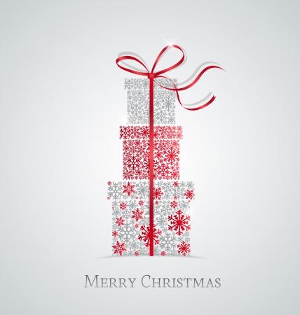 Elegante sfondo Natale con scatole regalo fatto da fiocchi di neve Vettoriali