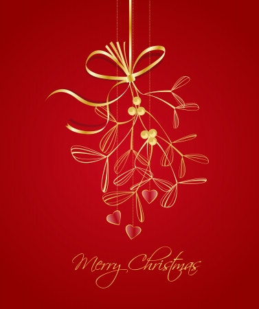 hanging Christmas decoration with mistletoe on red background Vector