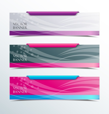 pink banner: Set of colorful horizontal banners on a light background  Illustration