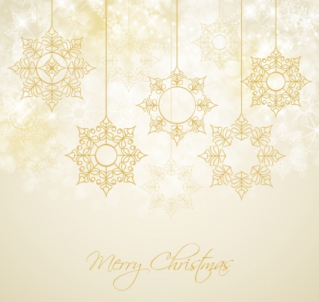 gold snowflakes: abstract Christmas background with snowflakes