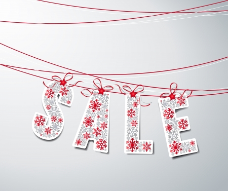 winter sales: sale label with ribbons  made from snowflakes