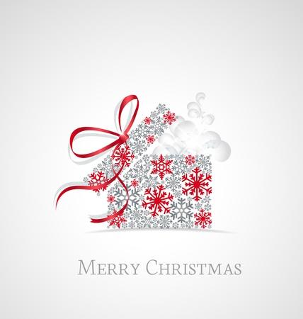Christmas present box on snowy background Illustration