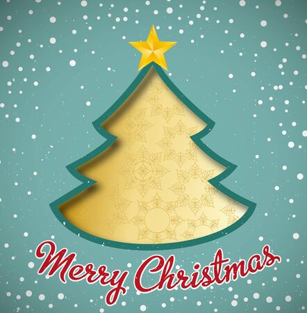 Merry Christmas card, christmas tree and snowflakes Vector