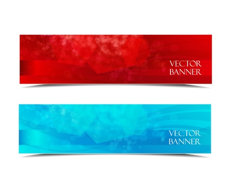 Two banners modern wave design, colorful background