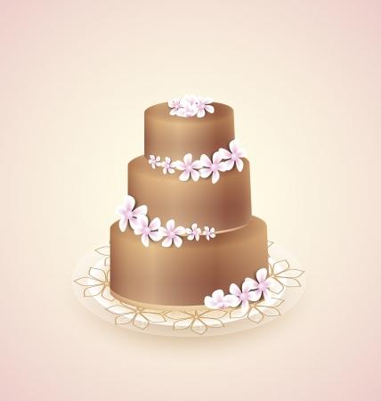 Сладкий шоколадный торт для торжества, векторные иллюстрации