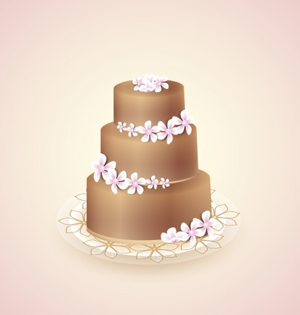 wedding cake: Sweet chocolate cake for celebrations, vector illustration
