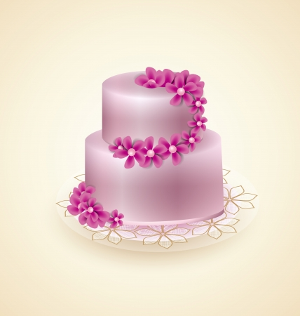 wedding cake: Sweet pink cake for celebrations, vector illustration Illustration