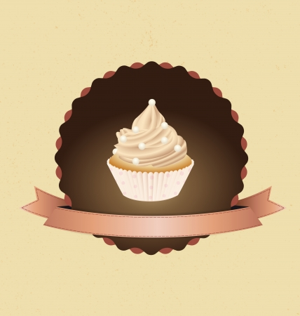 cupcake card in vintage style a retro 3 Vector