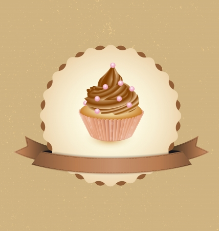 cupcake card in vintage style a retro 2 Stock Vector - 16004681