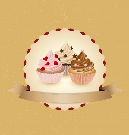 cupcake card in vintage style a retro 1 Vector
