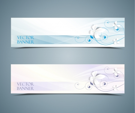 pink swirl: abstract floral banners set