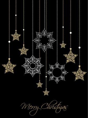 Kerst ornamenten gemaakt van sneeuwvlokken illustratie