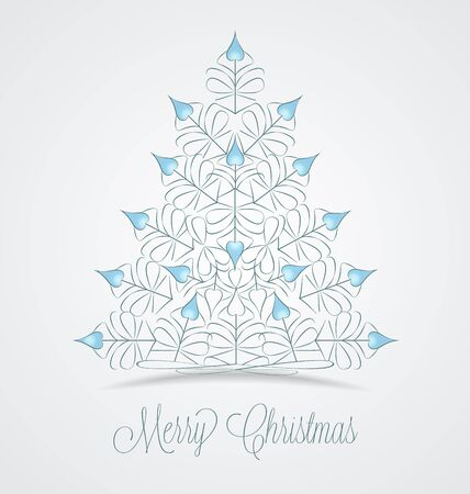 Christmas tree on a gray background Vector