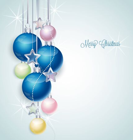 silver stars: Christmas background with stars and Christmas balls Illustration